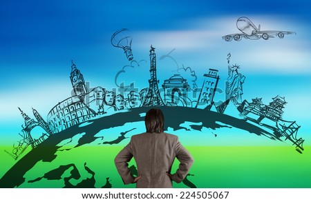 businessman looking at hand drawn traveling around the world by air plane on nature background  - stock photo