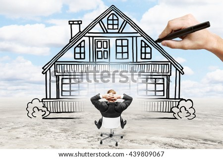 Businessman looking at house being drawn while relaxing on chair. Landscape background. Concept of mortgage and real estate - stock photo