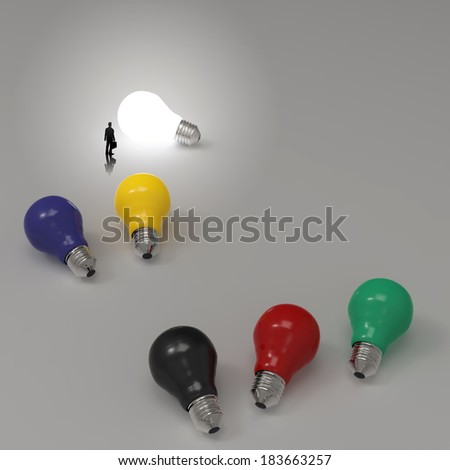 businessman looking at lightbulb 3d idea diagram as success concept  - stock photo
