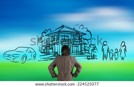 businessman looking at  planning family future on blur nature background as concept  - stock photo
