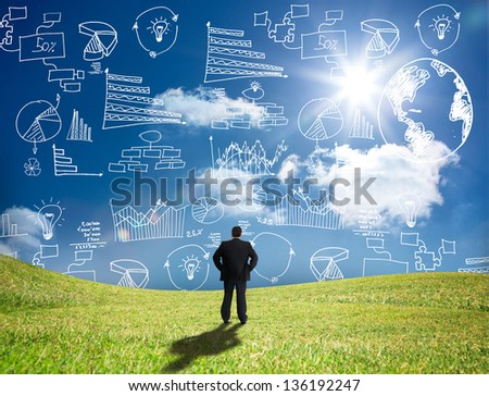 Businessman looking at white graphs and data in the sky while standing in a field - stock photo