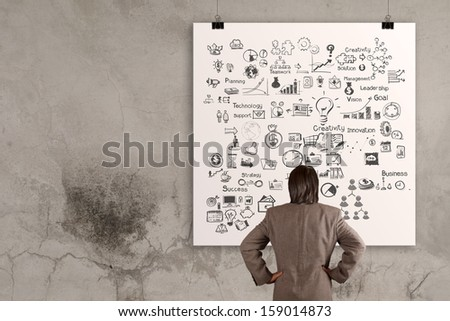businessman looking  business concept on poster wall  - stock photo