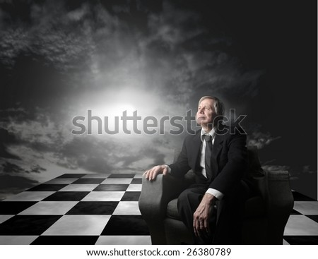 Businessman looking for a change - stock photo