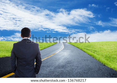 Businessman Looking Forward,Concept And Ideas - stock photo
