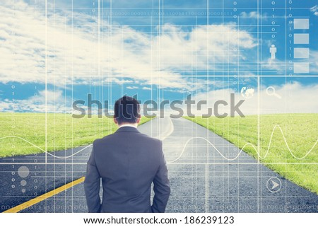 Businessman Looking Forward  Part 2, Vision Ahead Concept And Ideas  - stock photo