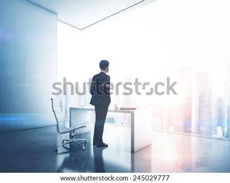 Businessman looking megalopolis through window - stock photo