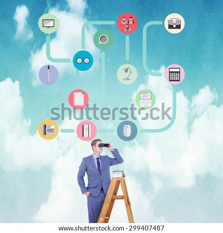 Businessman looking on a ladder against blue sky - stock photo