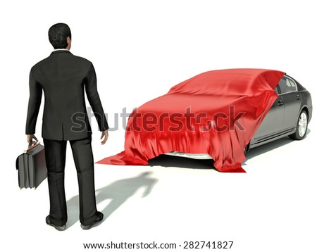 businessman looking on red car presentation - stock photo