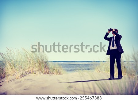 Businessman Looking Searching Opportunity Forward Vision Concept - stock photo