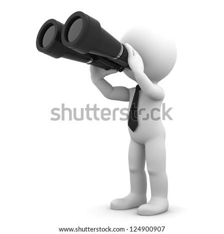 Businessman looking through binoculars. Search concept. - stock photo