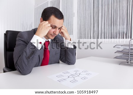 Businessman looking to a solution diagram to success (selective focus). - stock photo