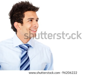 Businessman looking to the side - isolated over a white background - stock photo