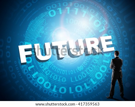 Businessman looks on word future, technology concept - stock photo