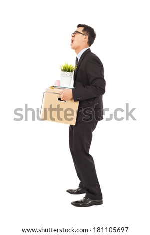 Businessman loses his job and angry screaming  - stock photo