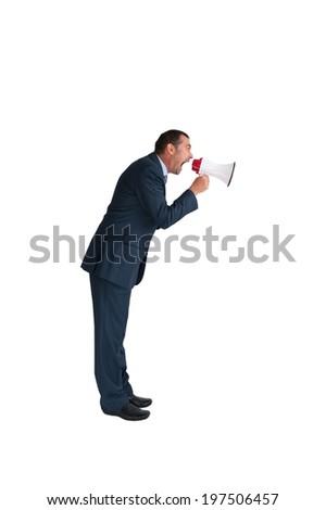businessman loudhailer full length isolated on white  - stock photo
