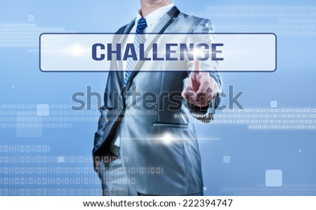 businessman making decision on challenge - stock photo