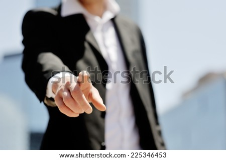 businessman man pushing abstract virtual touchscreen - technology, communication and networking concept - stock photo