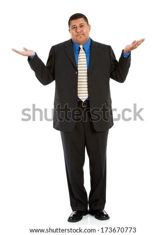 Businessman: Man Shrugging and Unsure - stock photo