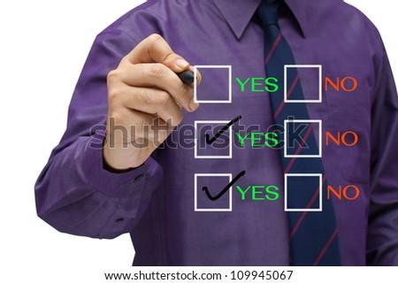 Businessman mark the check box - stock photo