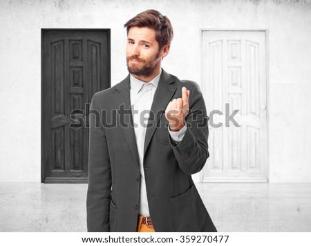 businessman money gesture - stock photo