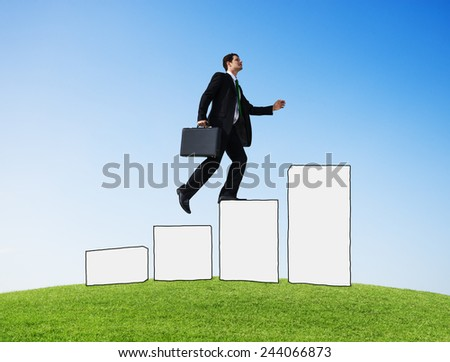 Businessman Moving Up Development Growth Success Goal Victory - stock photo