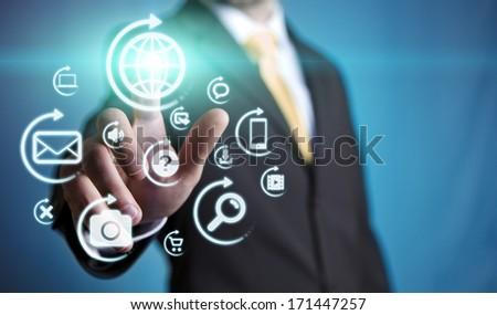 Businessman multimedia concept - stock photo