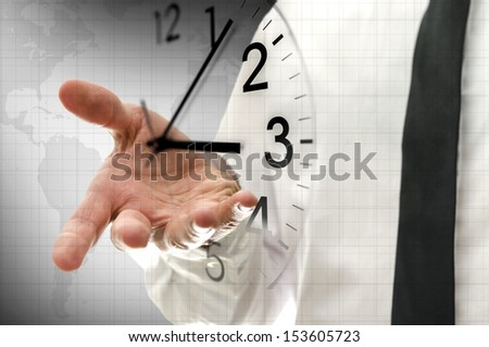 Businessman navigating virtual clock in interface. Concept of time management. - stock photo