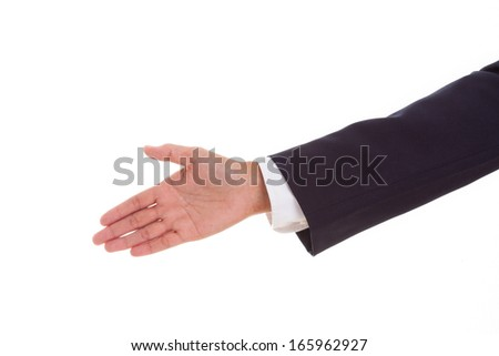 Businessman offering handshake to you on white background  - stock photo