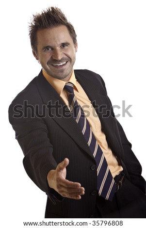 Businessman offers hand for handshake after business sale - stock photo