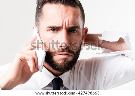 businessman on his mobile discussing and solving problems simply with the management power - stock photo