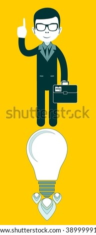 businessman on light bulb as a symbol of having an ideat. Stock illustration   - stock photo