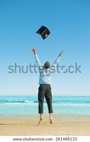 Businessman  on the beach.Dreams come true. First day of vacation. - stock photo
