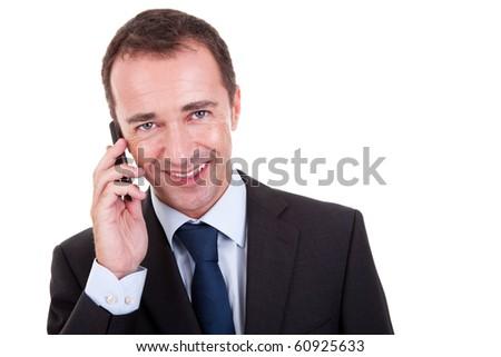 businessman on the phone, isolated on white background - stock photo