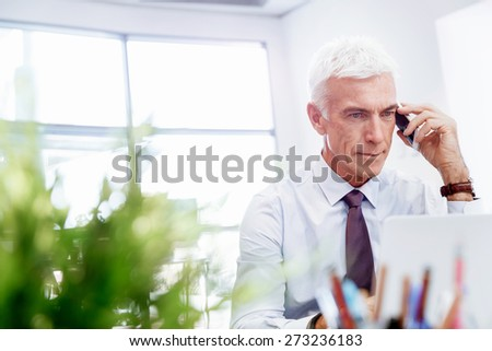 Businessman on the phone sitting at the computer in his office - stock photo