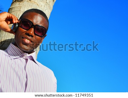 Businessman on the phone with copyspace. - stock photo