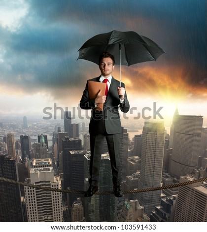 businessman on the rope - stock photo