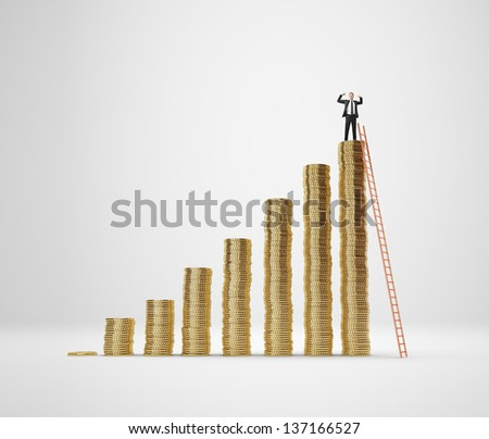 Businessman on the top of coin diagram - stock photo