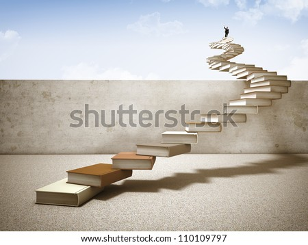 businessman on top of books stair - stock photo
