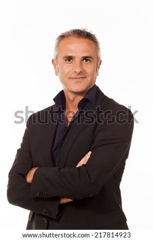 Businessman on white background, handsome - stock photo