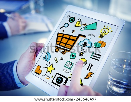 Businessman Online Marketing Digital Devices Working Concept - stock photo