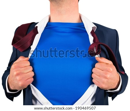 Businessman opening his shirt superhero style on white background - stock photo