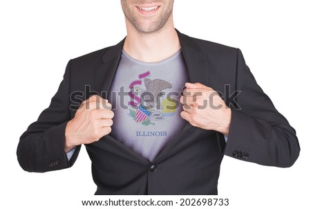 Businessman opening suit to reveal shirt with state flag (USA), Illinois - stock photo
