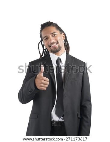 Businessman optimistic smiles to his beautiful career - stock photo