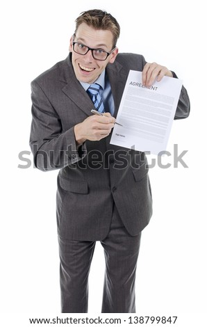 Businessman or lawyer trying to sell misleading contract - stock photo