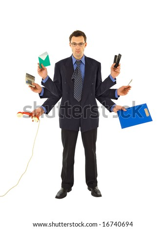 Businessman or office employee doing too much work - isolated - stock photo