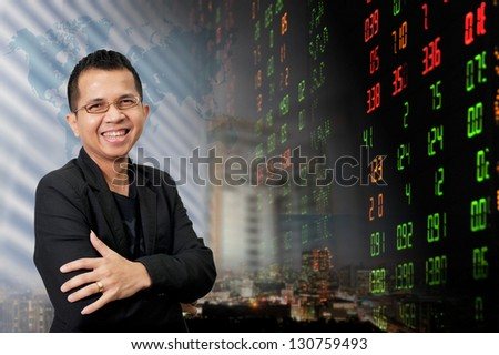 Businessman or stock broker - stock photo