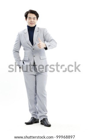 businessman outside, giving ok sign - stock photo