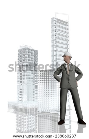 Businessman overseeing construction of buildings - stock photo