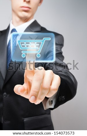 Businessman performing online purchase. - stock photo