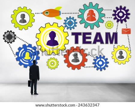 Businessman Planning Connection Gear Corporate Team Concept - stock photo